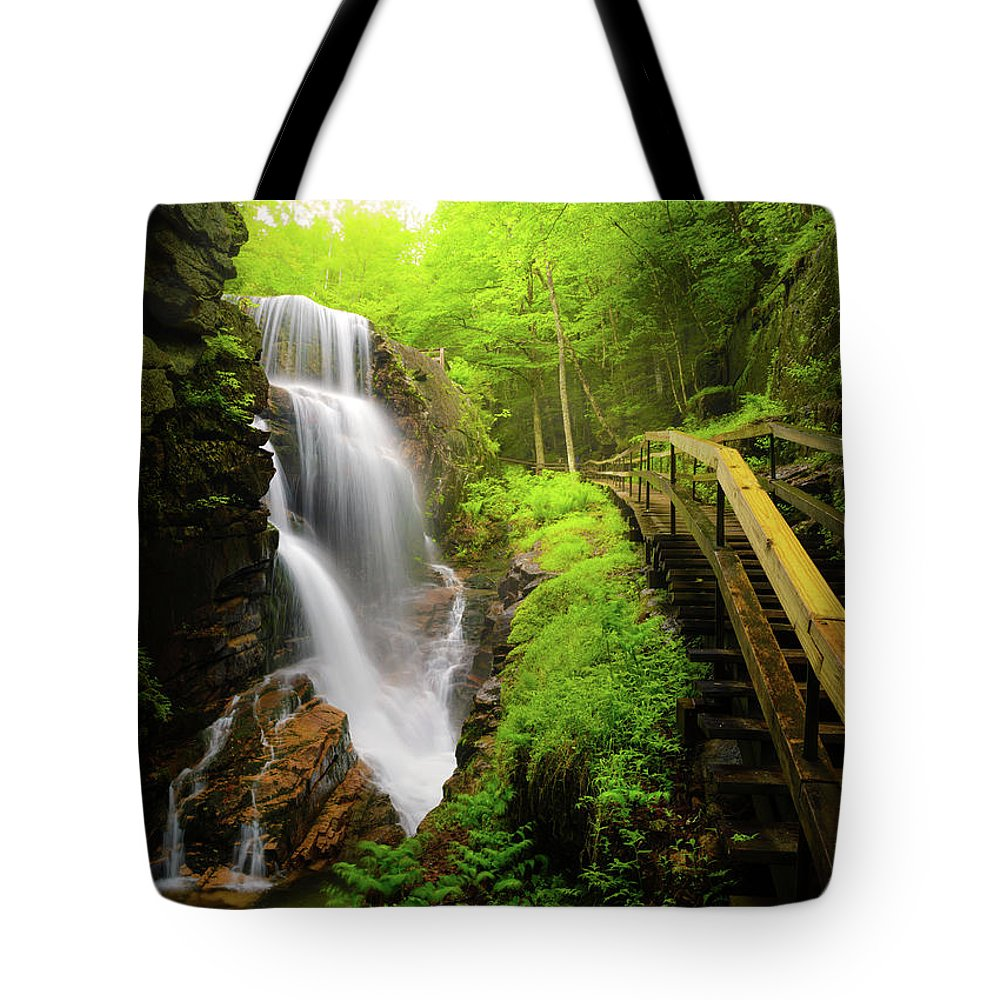 Steps Tote Bag featuring the photograph Water Falls In The Flume by Noppawat Tom Charoensinphon