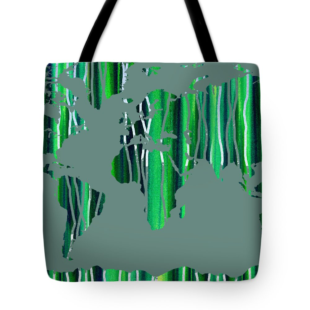 Green Tote Bag featuring the painting Watercolor Silhouette World Map Colorful Png Xxviii by Irina Sztukowski
