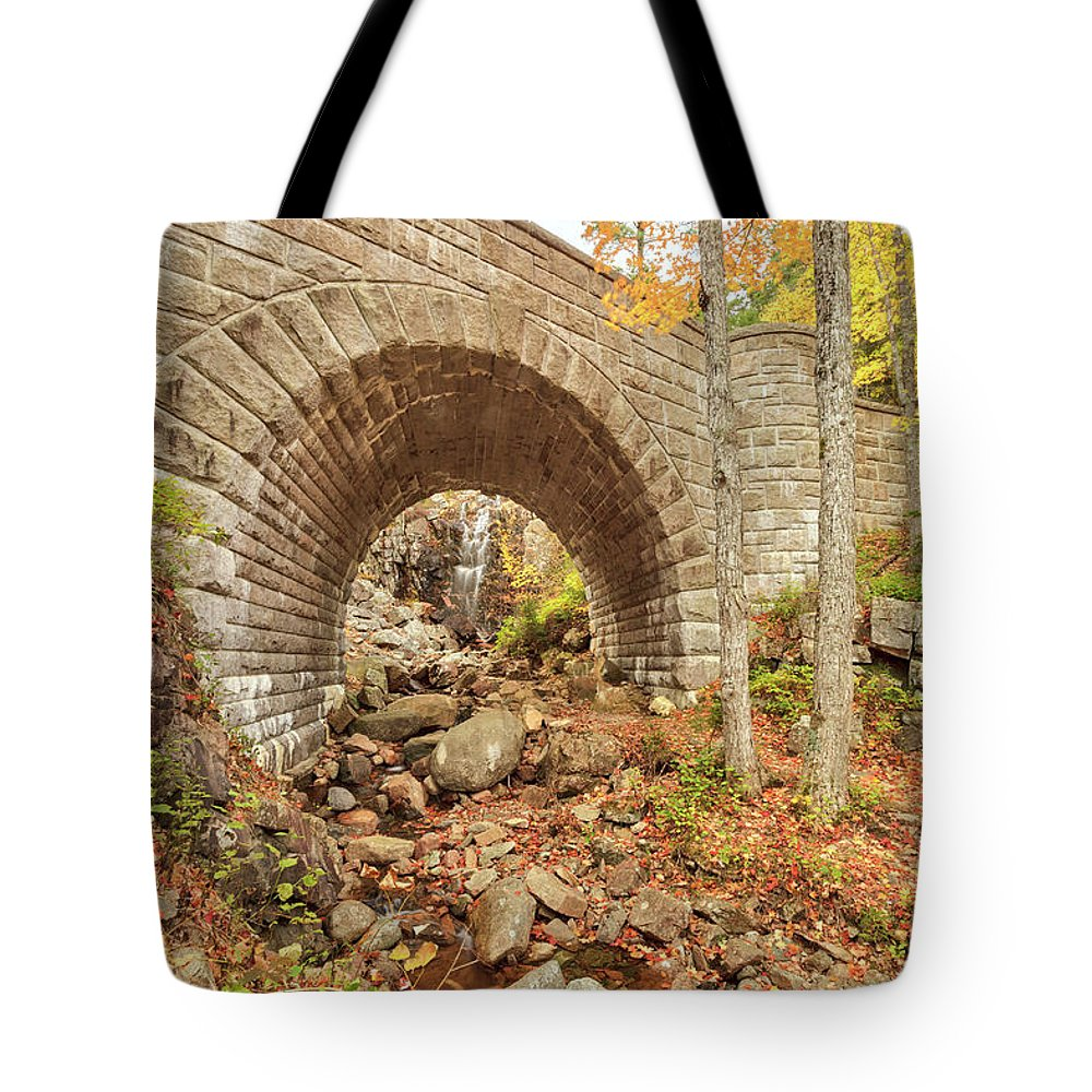 Scenics Tote Bag featuring the photograph Waterfall Bridge, Autumn, Acadia by Picturelake