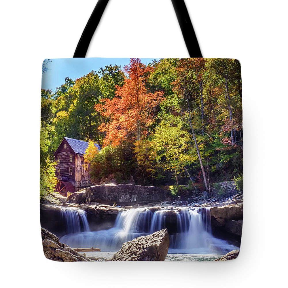 Wv Tote Bag featuring the photograph Waterfall of Glade Creek Grist Mill by Amanda Jones