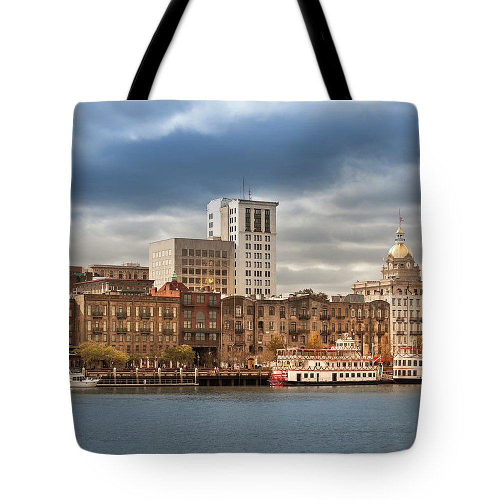 Scenics Tote Bag featuring the photograph Waterfront Skyline Of Savannah Georgia by Pgiam