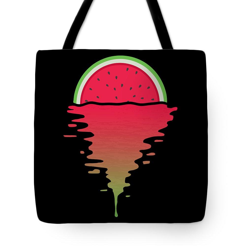 Watermelon Tote Bag featuring the digital art Watermelon Sunset by Filip Schpindel