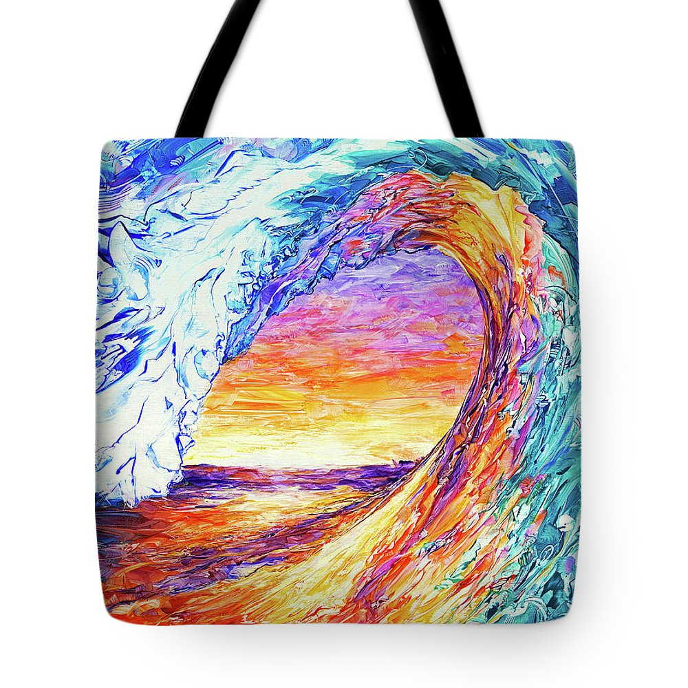 Paintings Of Waves Hawaiian Wave Waves Canvas Prints Wave Painting Barrel Tube Beach Paintings Surf Paintings Turquoise Water Ocean Blue Waves Breaking Wave Curl Ocean I Phone Cases Surf I Phone Cases Wave I Phone Cases Wave Art Printswaves Surf Surfer Bermuda Beach Seashore Hawaii Pipeline Sunrise Sunset Pipeline Waves Surf The Pipeline Ocean Sea Seascape Ocean View Colorful Explosion Sunlight Sunset On Water Aquatic Caribbean Curling Waves Rolling Waves Tote Bag featuring the painting Wave Of The Harvest Horizontal by Susan Card
