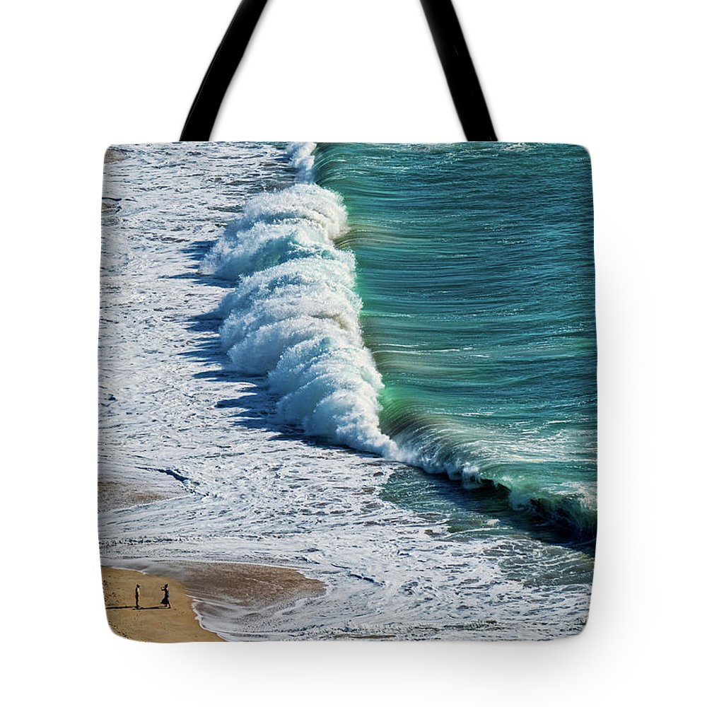 Portugal Tote Bag featuring the photograph Waves At Nazare Beach - Portugal by Stuart Litoff