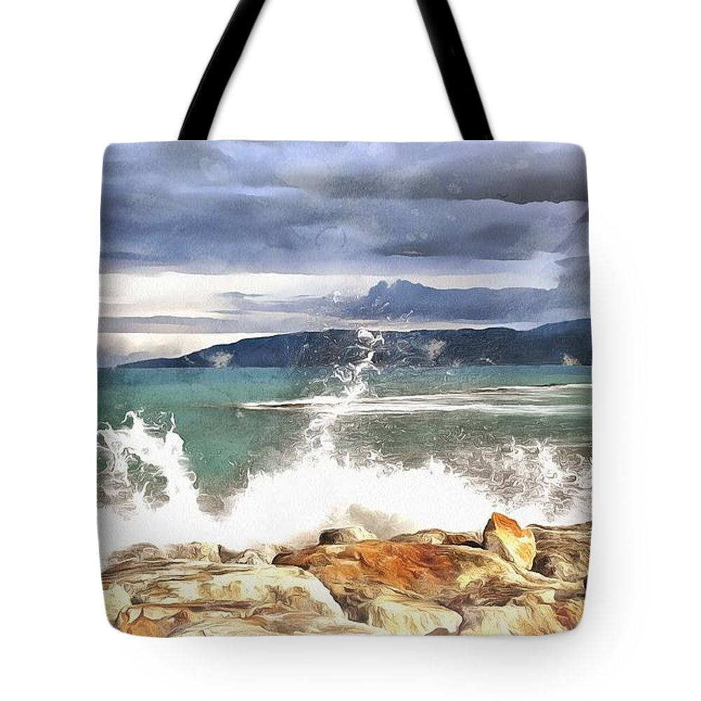 Waves Tote Bag featuring the painting Waves At Work by Harry Warrick