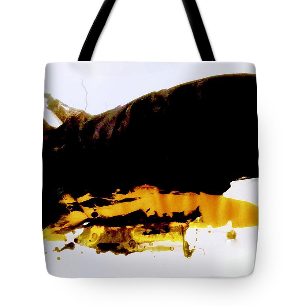 Black Tote Bag featuring the painting We Will Fly Like An Autumn Sky by Laura Haycraft