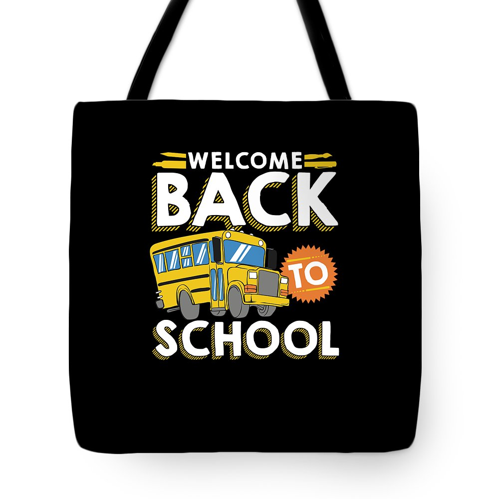 Welcome-back-to-school Tote Bag featuring the drawing Welcome Back To School Kids School Bus by The Perfect Presents