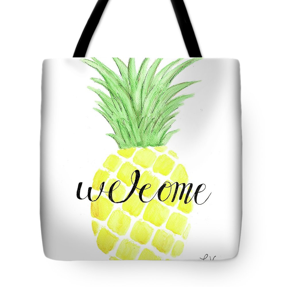 Pineapple Tote Bag featuring the painting Welcome by Elizabeth Vaughn