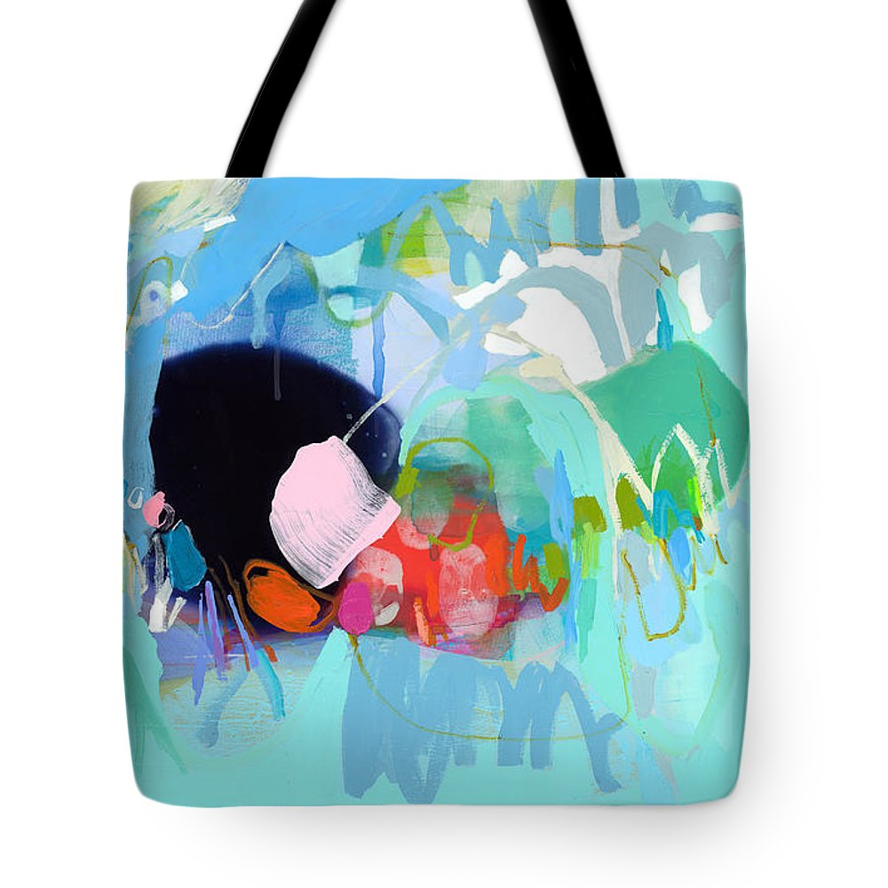 Abstract Tote Bag featuring the painting West Coast Wanderlust by Claire Desjardins