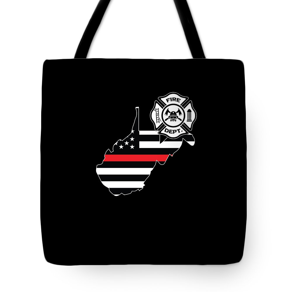 Firefighter-appreciation Tote Bag featuring the digital art West Virginia Firefighter Shield Thin Red Line Flag by Jean-Baptiste Perie