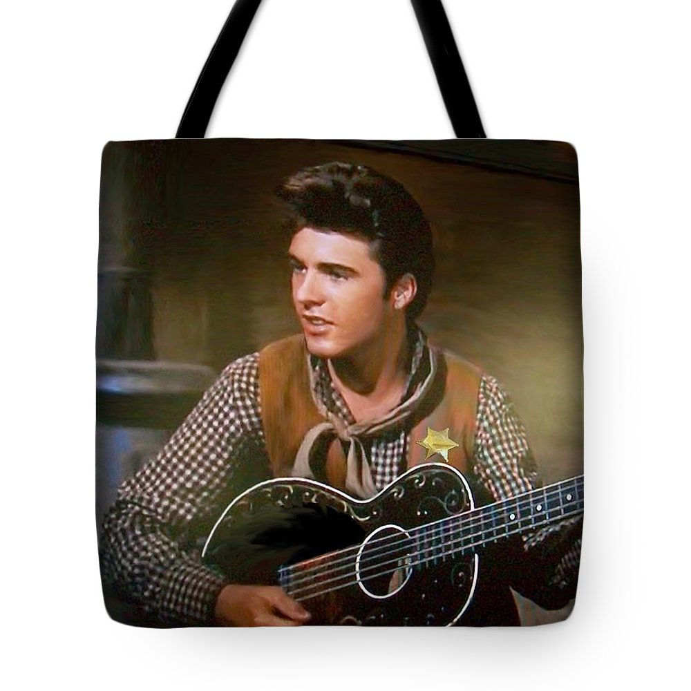 Ricky Nelson Dean Martin John Wayne Country Western Stage Concert Singer Star Entertainer Tv Music Musician Gun Slinger Cowboy Deputy Sheriff The Of To And A In Is It You He Was For On Are As I His Be One Or Had By We Can All Up An She Do If So Her With That They Have But Were Then Word Make Like Our Rkc Ron Ronald K Chambers Tote Bag featuring the photograph Western Ricky Nelson by Ron Chambers