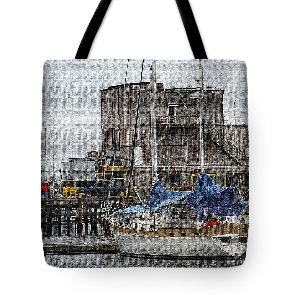 Westport Docks Tote Bag featuring the digital art Westport Docks by Tom Janca