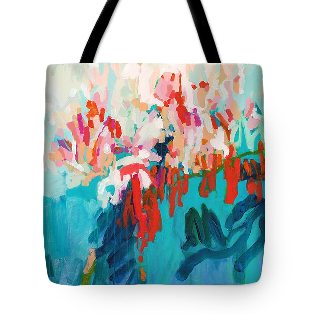 Abstract Tote Bag featuring the painting What Are Those Birds Saying? by Claire Desjardins