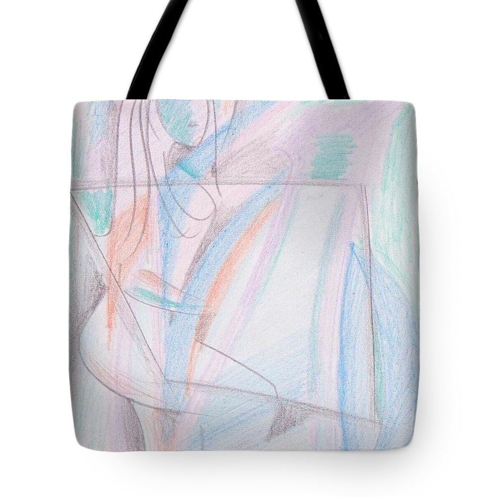 Pencil Color On Paper Tote Bag featuring the drawing When I Was Teenage by Mustafa Attari