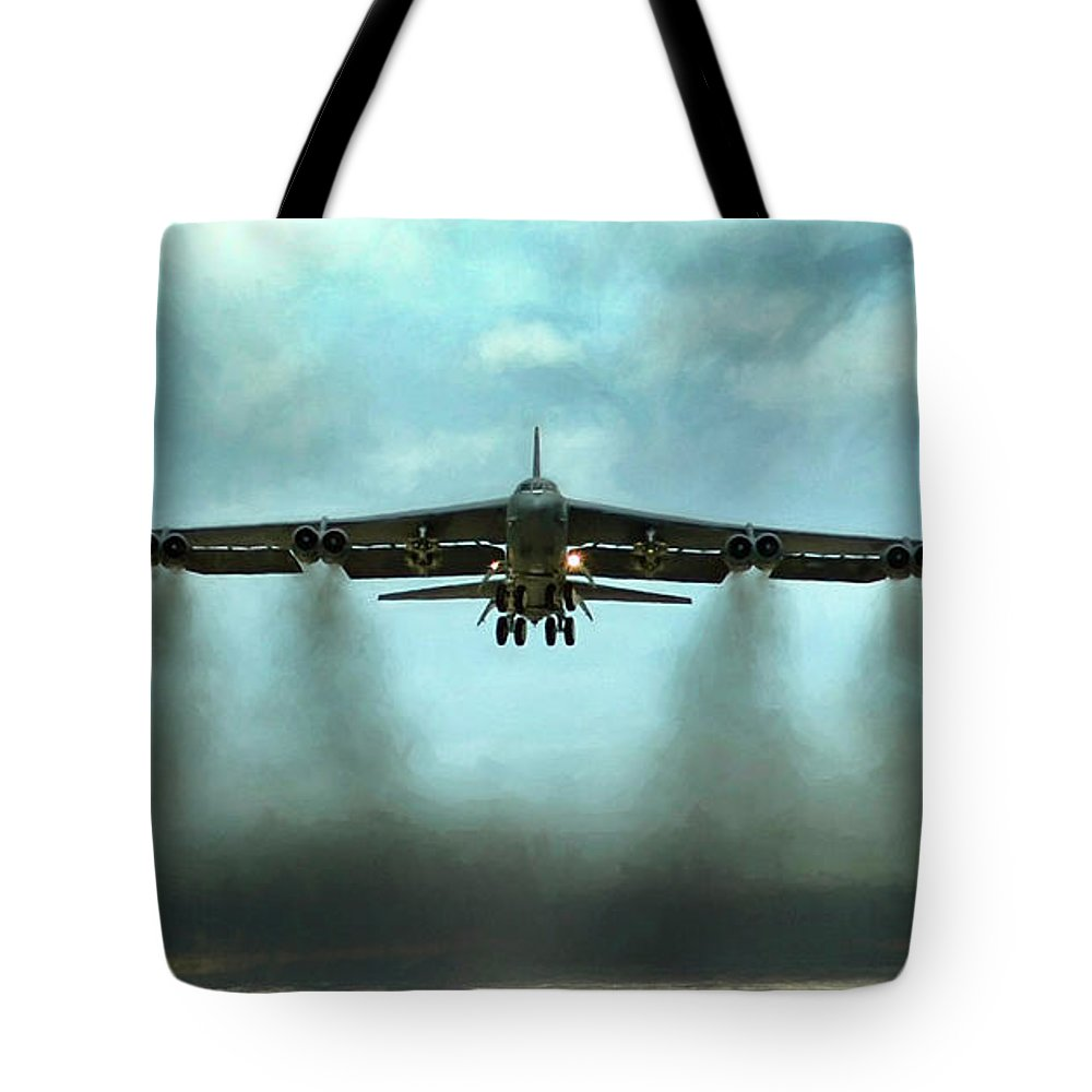 Aviation Tote Bag featuring the digital art Where There's Smoke There's Firepower by Peter Chilelli