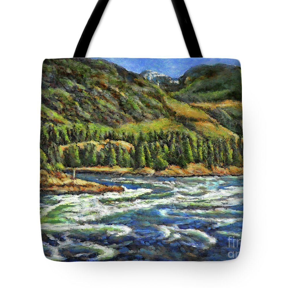 Skookumchuck Narrows Tote Bag featuring the painting Where Waters Meet 3 by Eileen Fong