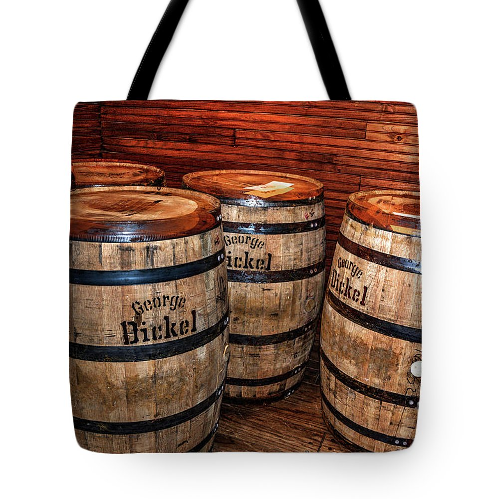 Hdr Tote Bag featuring the photograph Whisky Barrels by Paul Mashburn