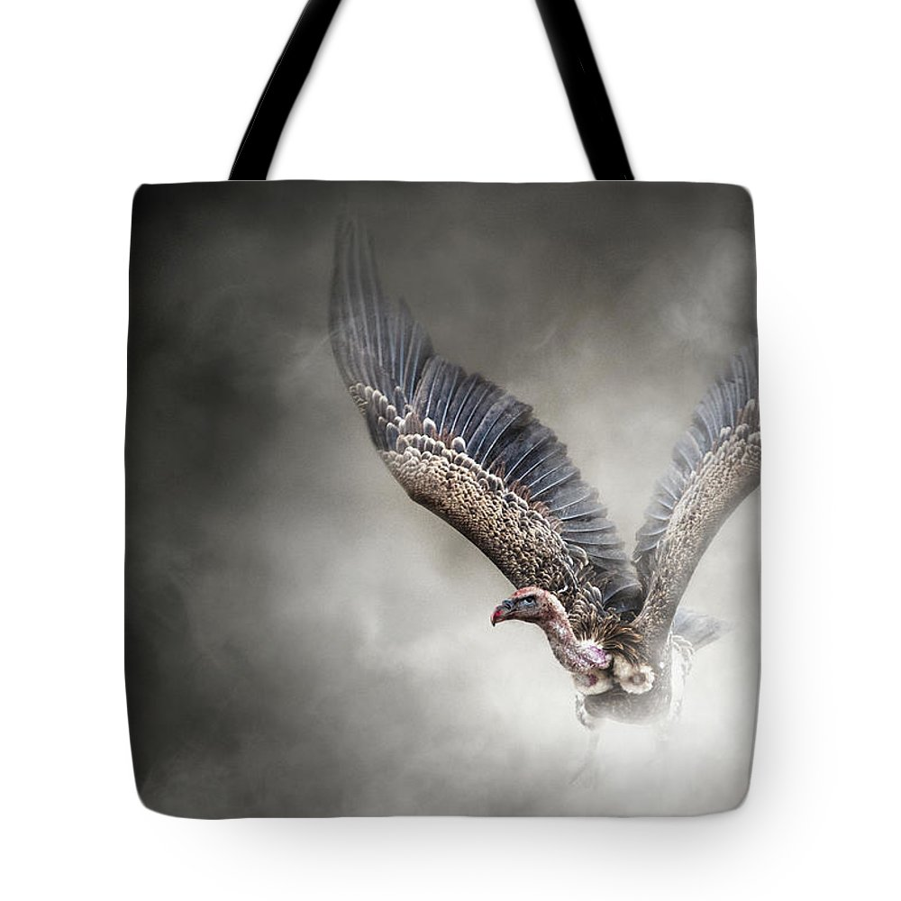 Gyps Africanus Tote Bag featuring the photograph White-backed Vulture - In The Dust by Susan Schmitz