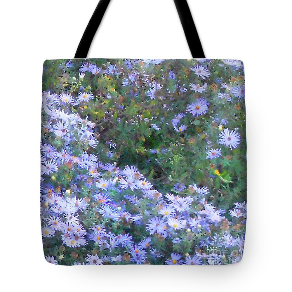 Blue Flowers Tote Bag featuring the photograph White Blue Cluster Square by Felipe Adan Lerma