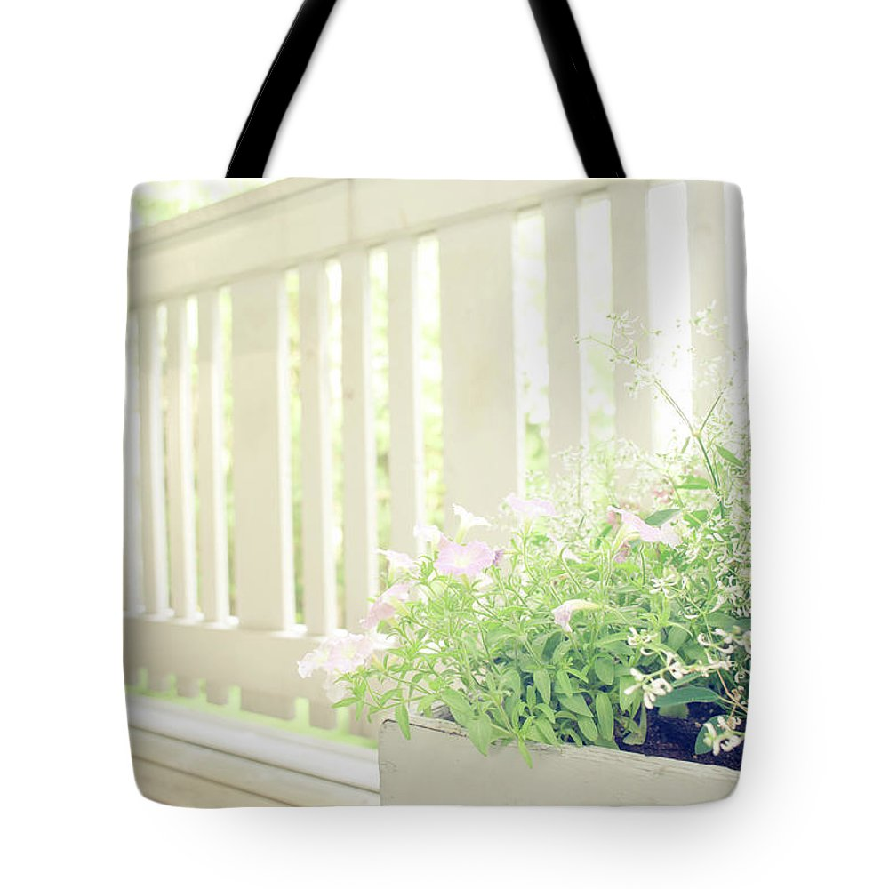 Outdoors Tote Bag featuring the photograph White Fence And Flowers by Photographer Mikael Nyberg