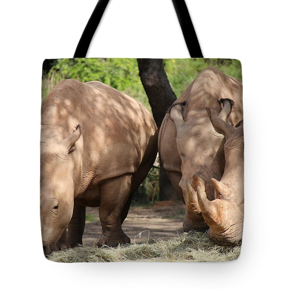 Rhino Tote Bag featuring the photograph White Rhinos by Alina Avanesian