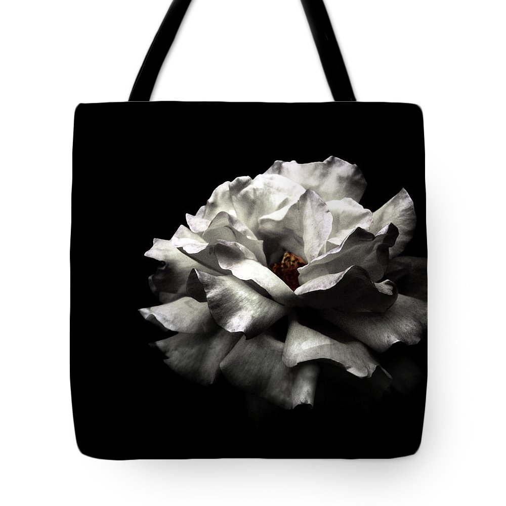Black Background Tote Bag featuring the photograph White Rose by Lola L. Falantes