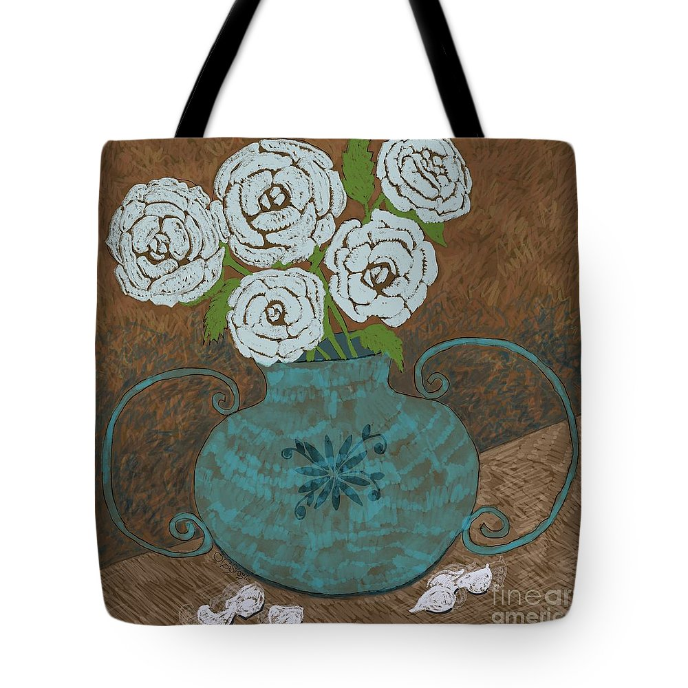 Roses Tote Bag featuring the painting White Roses In Teal Vase by Caroline Street