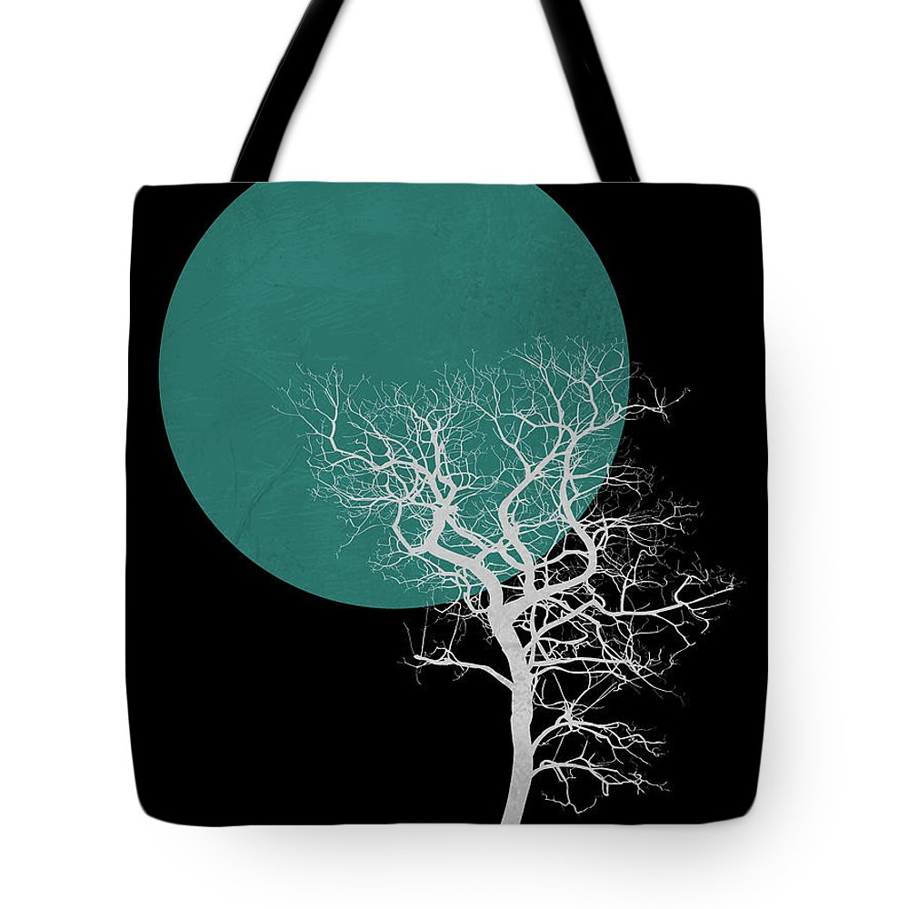 Tree Tote Bag featuring the mixed media White Tree And Big Moon by Naxart Studio