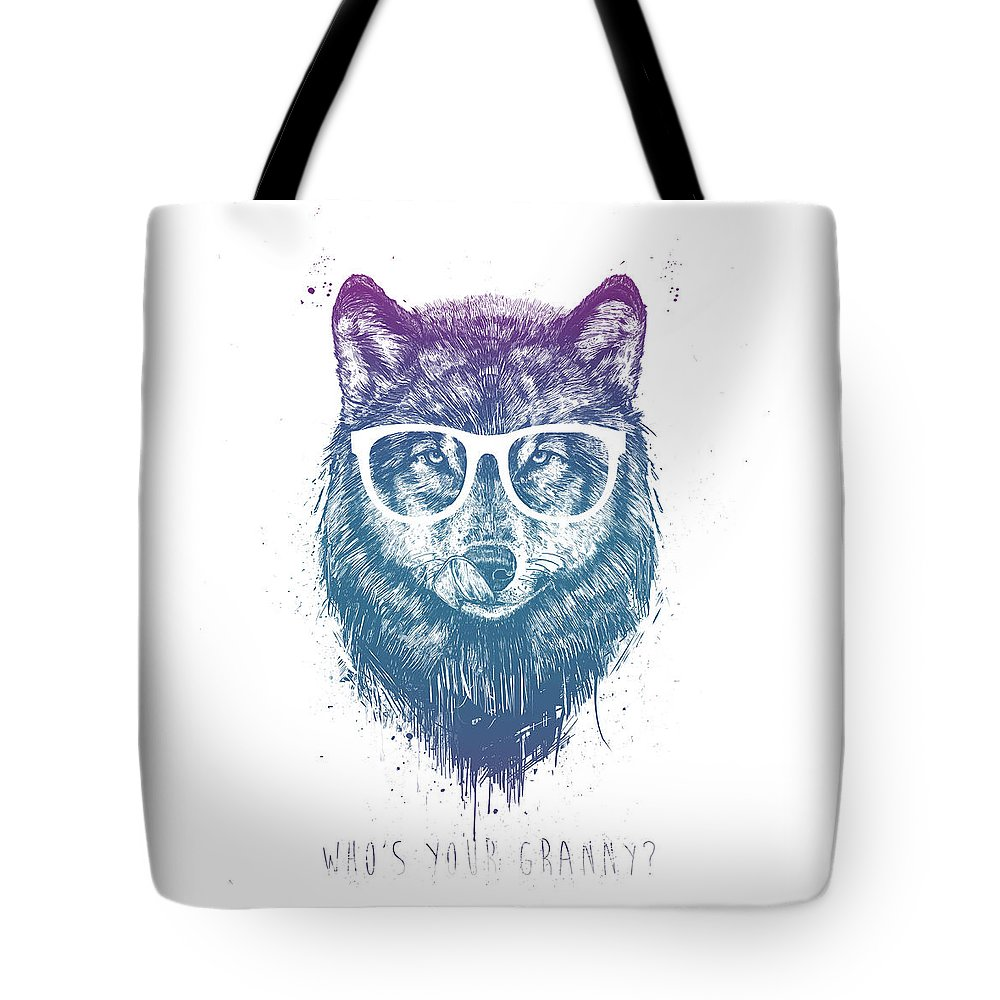 Wolf Tote Bag featuring the mixed media Who's Your Granny? by Balazs Solti