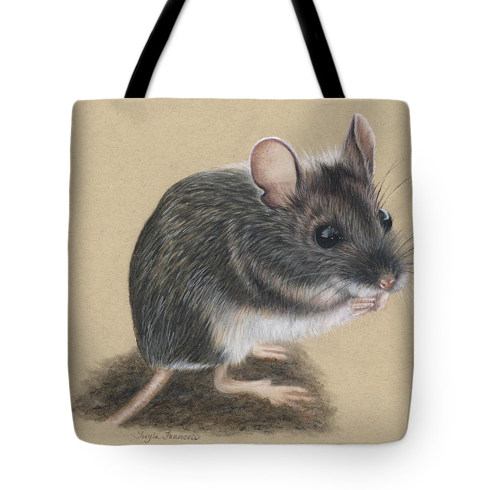 Mouse Tote Bag featuring the drawing Wild Deer Mouse by Twyla Francois