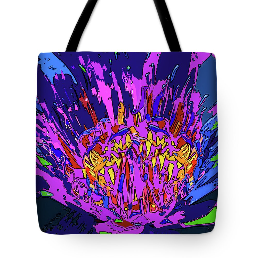 Abstract Flower Tote Bag featuring the digital art Wild Flower by Rafael Serur