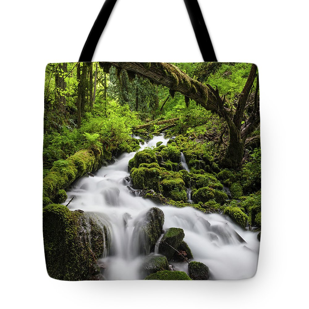 Scenics Tote Bag featuring the photograph Wild Forest Waterfall Idyllic Green by Fotovoyager