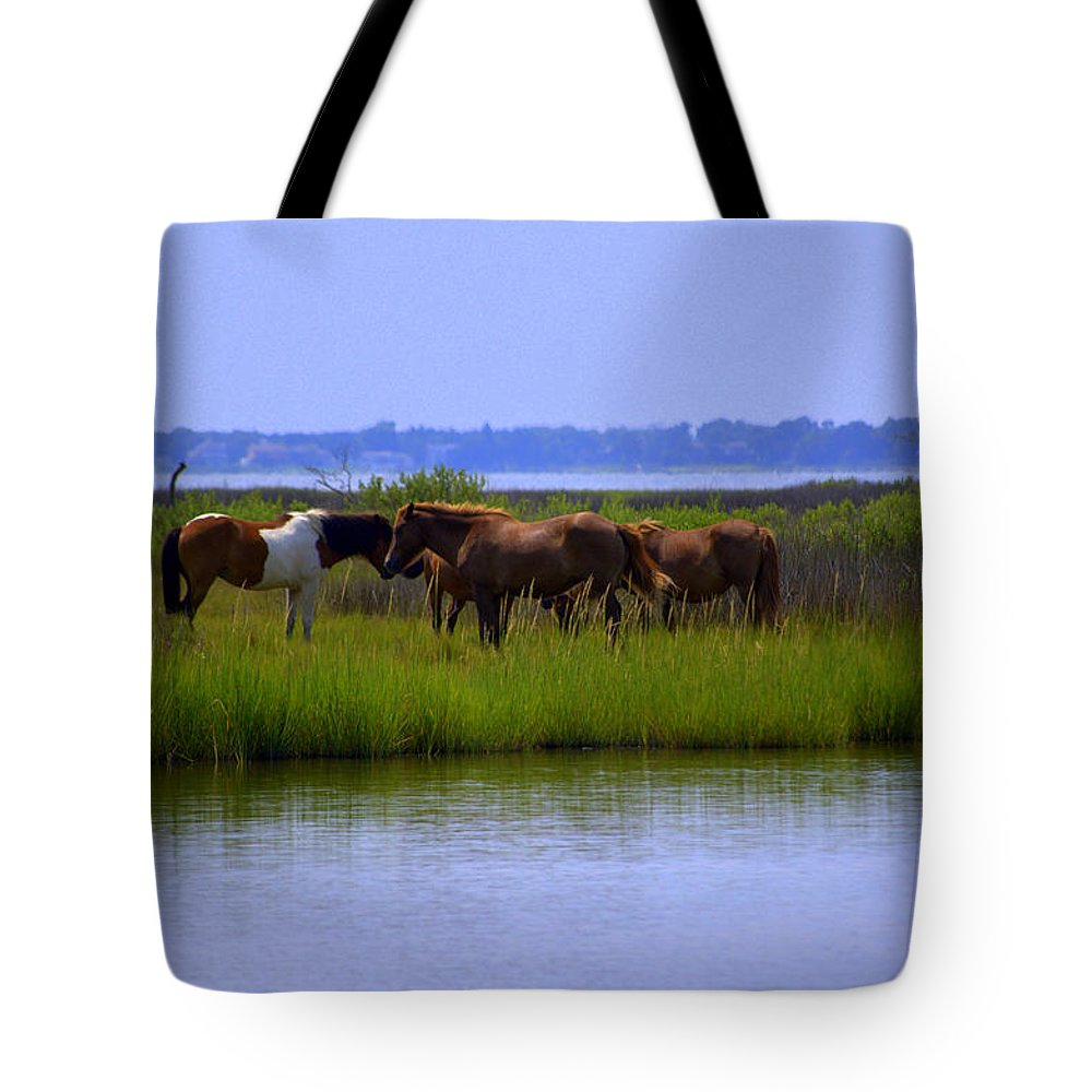 Horse Tote Bag featuring the photograph Wild Horses Of Assateague Island by Robin Houde Photography