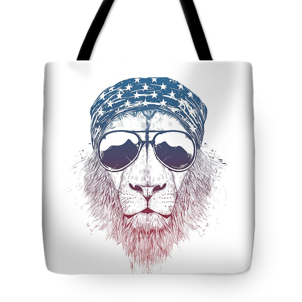 Lion Tote Bag featuring the drawing Wild lion II by Balazs Solti