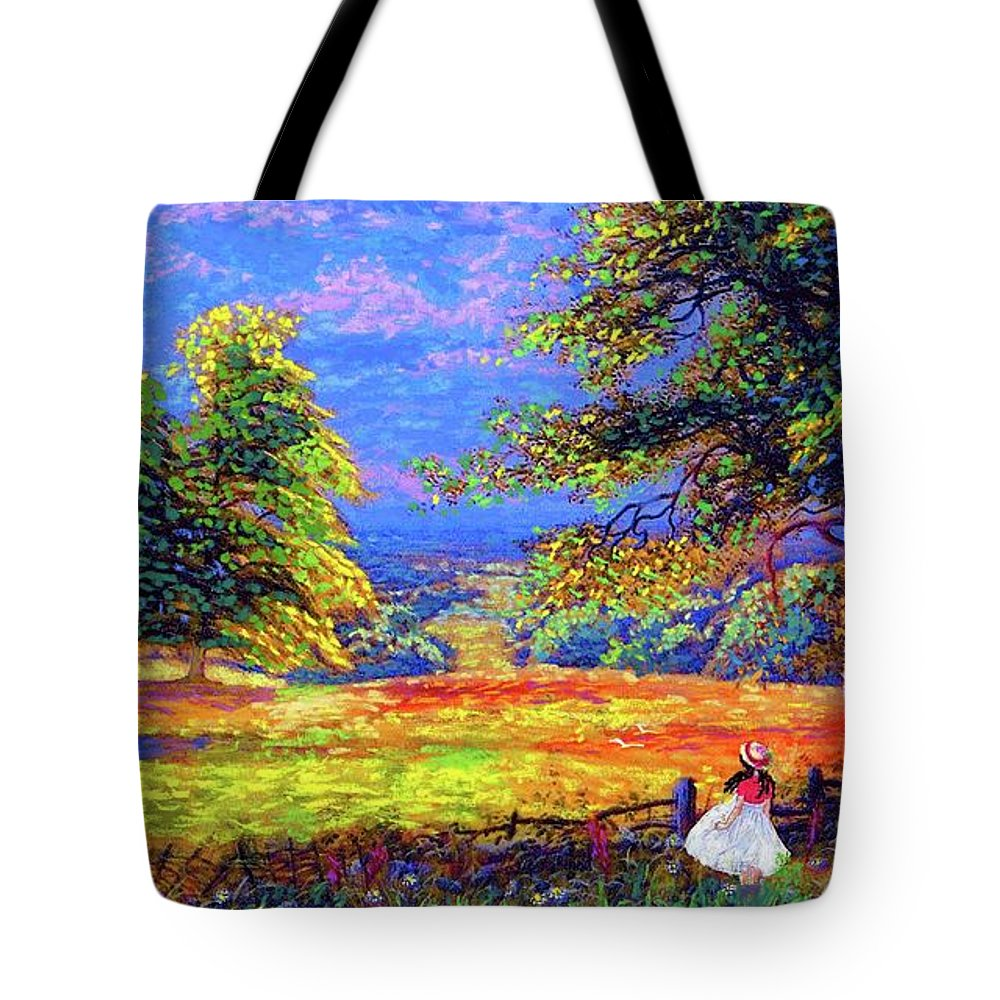 Wildflower Tote Bag featuring the painting Flower Fields by Jane Small