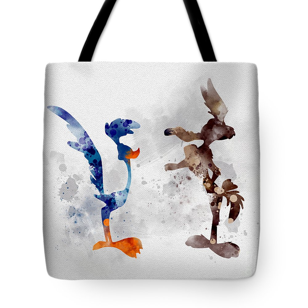 Wile E Coyote Tote Bag featuring the mixed media Wile E. Coyote And The Road Runner by Rebecca Jenkins