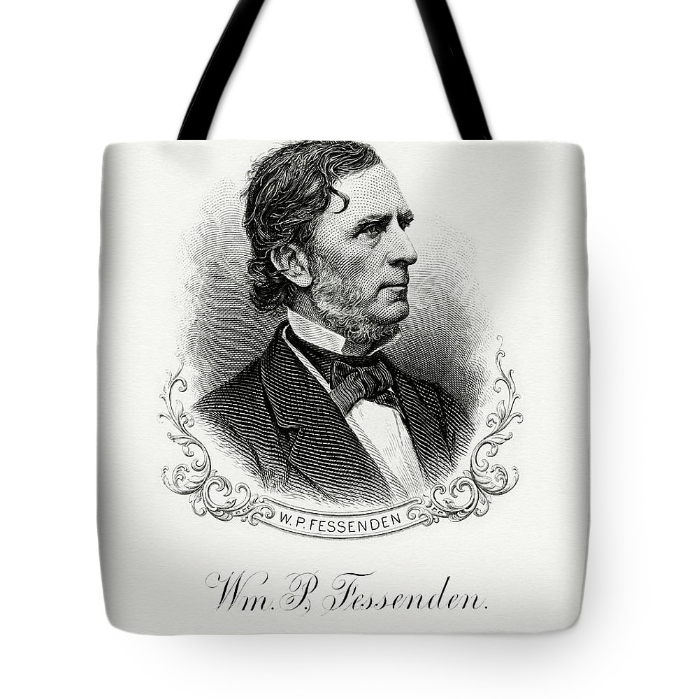 William P. Fessenden Tote Bag featuring the painting William P. Fessenden by The Bureau of Engraving and Printing