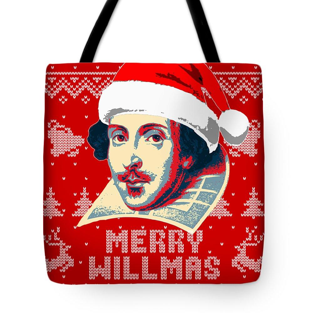 Santa Tote Bag featuring the digital art William Shakespeare Merry Willmas by Filip Hellman