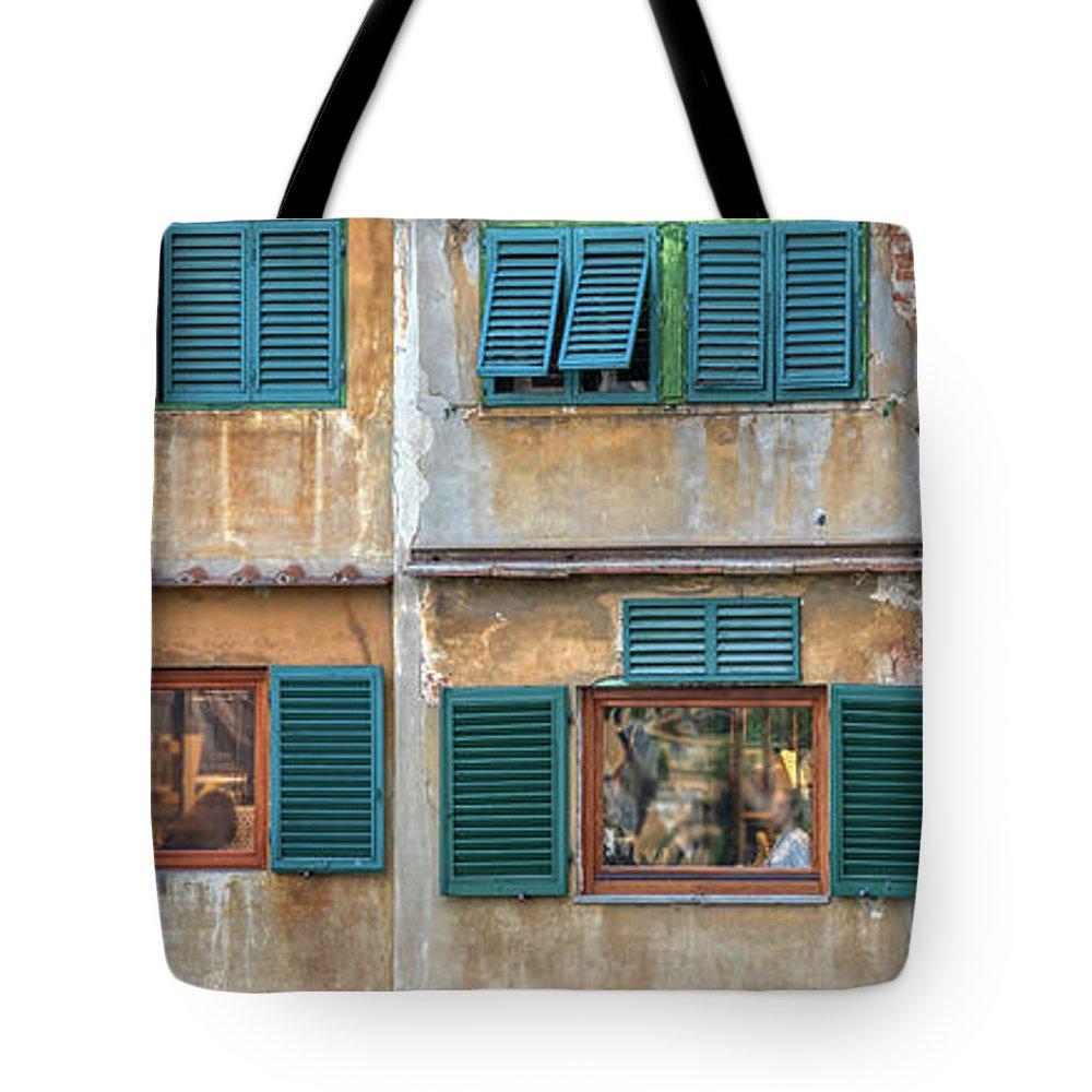 Bridge Tote Bag featuring the photograph Windows Of Ponte Vecchio by David Letts