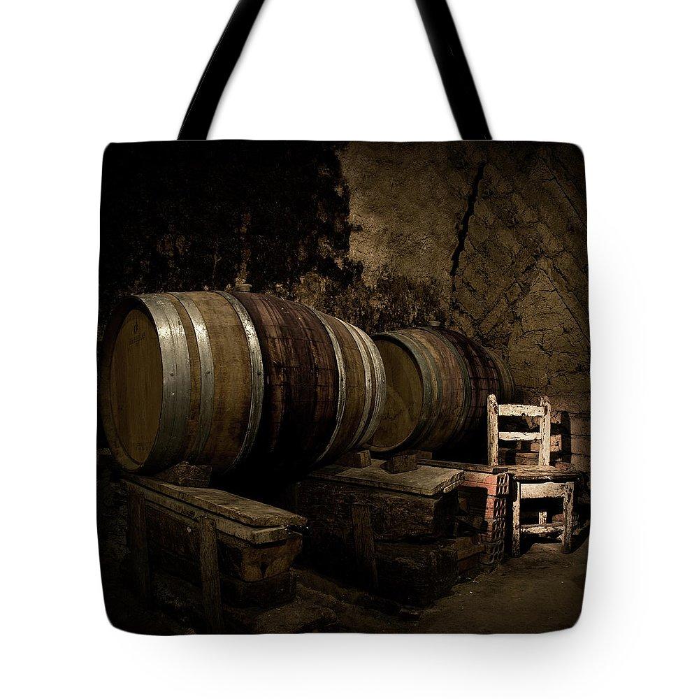 Fermenting Tote Bag featuring the photograph Wine Cellar by Fotografias De Rodolfo Velasco
