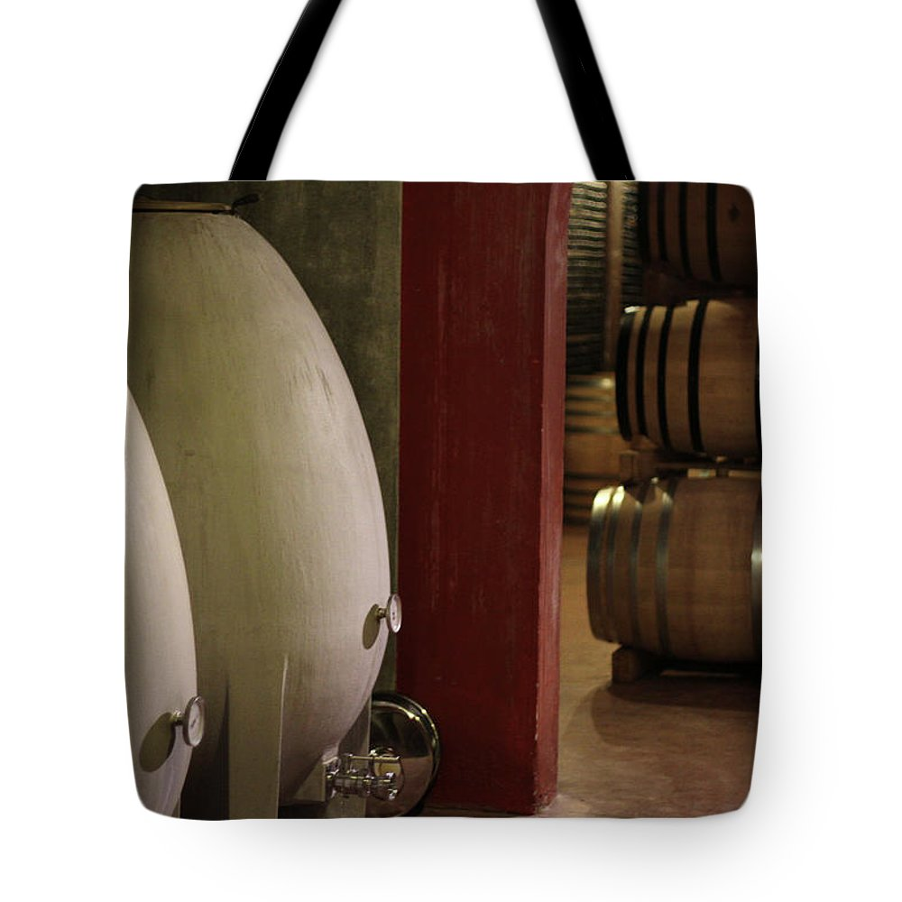 Aging Process Tote Bag featuring the photograph Wine Cellar by Tom And Steve