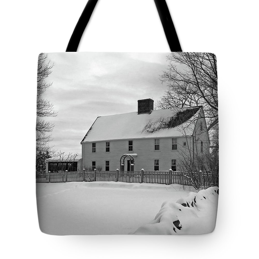 First Period Colonial Parker Noyes Newbury Teacher Minister Reverend Snow Tote Bag featuring the photograph Winter At Noyes House by Wayne Marshall Chase