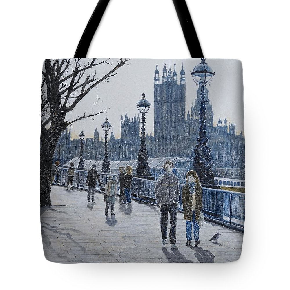 London Tote Bag featuring the painting Winter In London by Kathy Gales