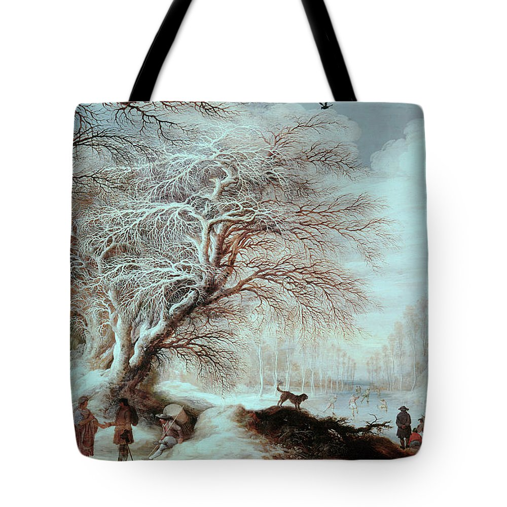 17th Century Tote Bag featuring the painting Winter Landscape by Gysbrecht Lytens