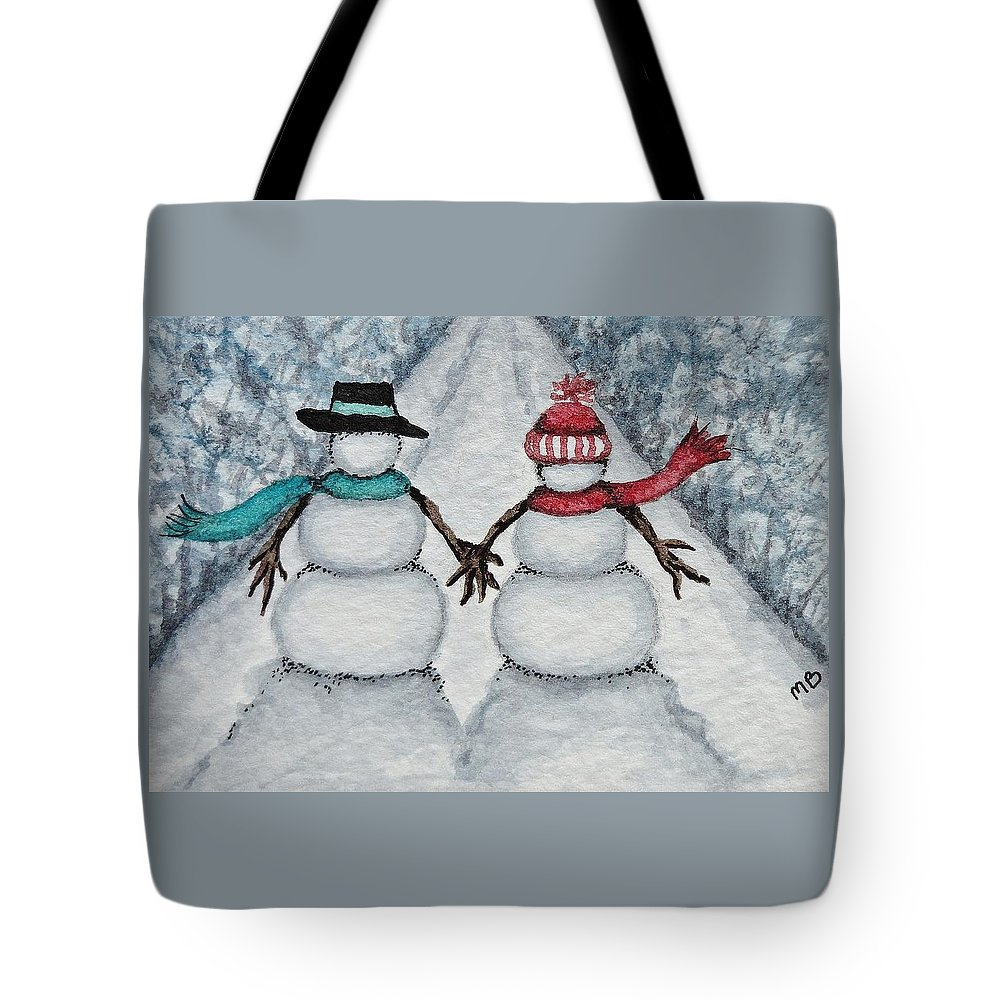 Snowman Tote Bag featuring the painting Winter Stroll by Michele Bolling