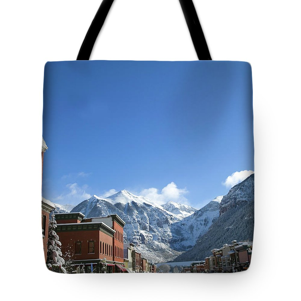 Scenics Tote Bag featuring the photograph Winter Telluride Colorado by Dougberry