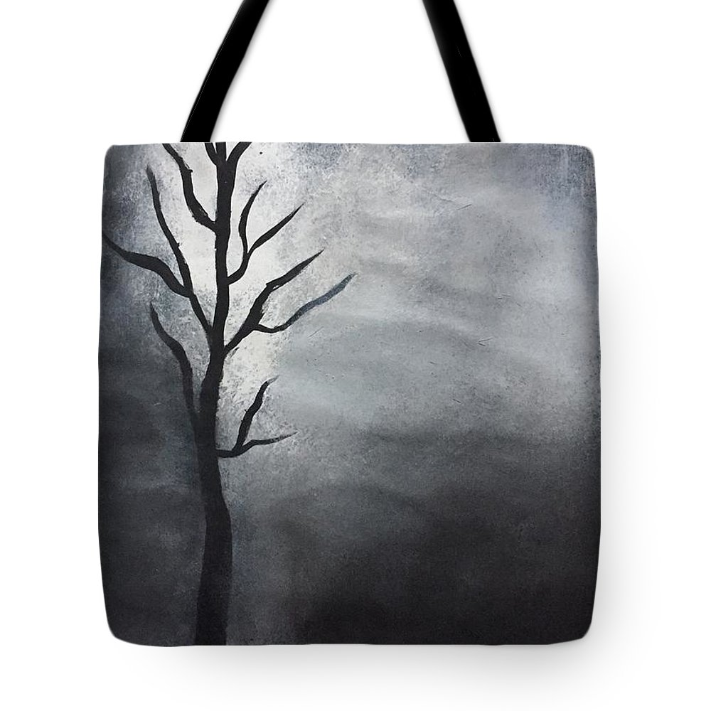 Deciduous Tote Bag featuring the painting Winter Tree At Night. by C R