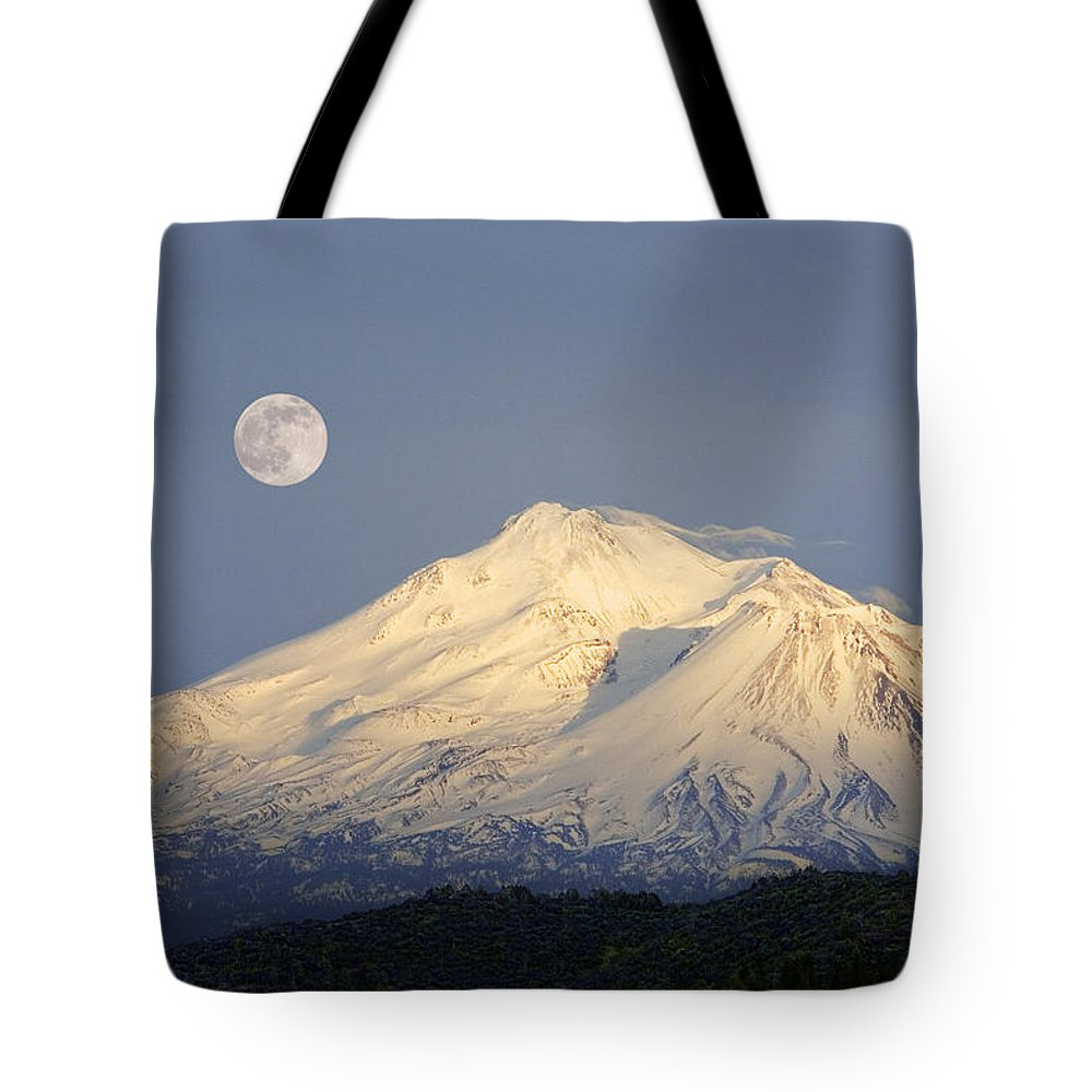 Scenics Tote Bag featuring the photograph Winter View Of Mt. Shasta, In Northern by Diane Miller