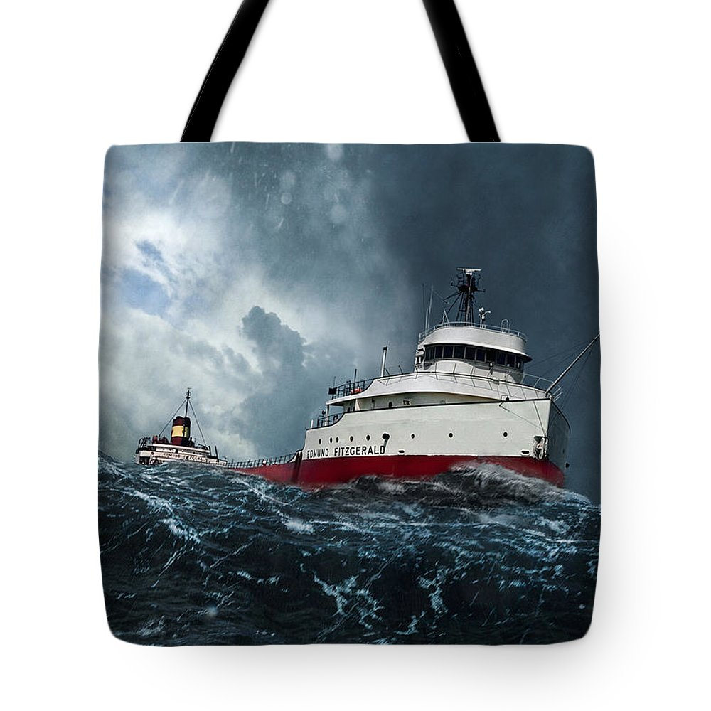 Edmund Fitzgerald Tote Bag featuring the digital art Witch Of November by Peter Chilelli
