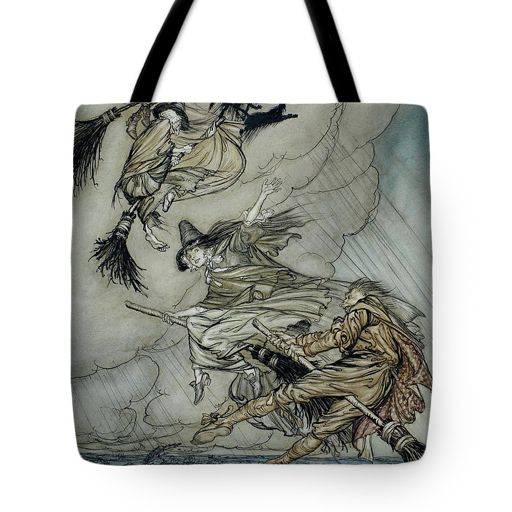 Arthur Rackham Tote Bag featuring the painting Witches, 1907 by Arthur Rackham